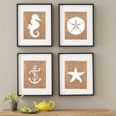Beach House Prints / Nautical Nursery Prints / Starfish / Sand Dollar / Anchor / Starfish / Wall Art