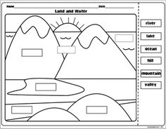 "The Lesson Plan Diva: Landforms and Bodies of Water FREEBIE! I usually supplement this with ""Candy Landforms""- they love it! 3rd Grade Social Studies, Social Studies Worksheets, Social Studies Activities, Teaching Social Studies, Kindergarten Social Studies Lessons, Geography Worksheets, Geography Activities, Map Worksheets, Science Worksheets"