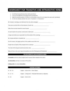 Transitive or Intransitive Action Verbs Worksheet | Englishlinx ...