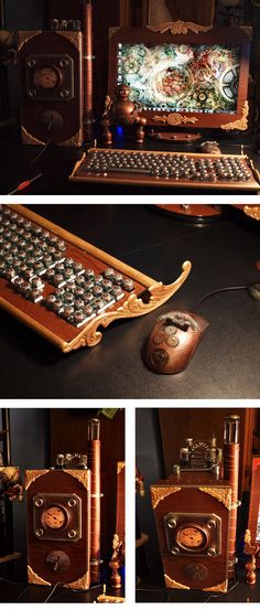 Steampunk mod of my computer, monitor, keyboard and mouse. For more info and pictures click here