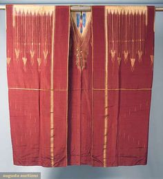 Syria, men's abba, tapestry woven, chestnut w/ gold lame in stylized diamond & arrow patterns, CB woven w/ blue, red & green designs, gold cord CF tie w/ gold balls & knots, early 20th c