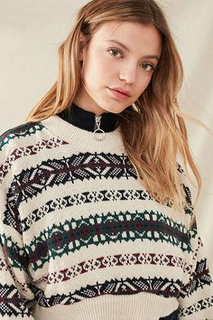 Slide View: 5: Urban Renewal Recycled Cropped Fair Isle Sweater