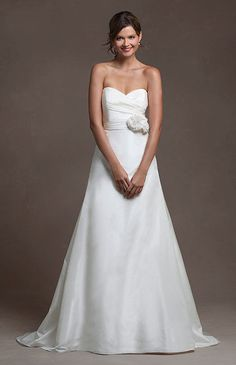 Wedding Dresses, 2014 Spring Wedding Dresses, 2014 A-line Strapless with Flower Decoration Sweep Train Chiffon Wedding Dress