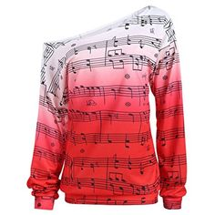 CharMma Women's Casual Sloping Shoulder Long Sleeve Music Note Print Sweatshirt: Amazon.co.uk: Clothing