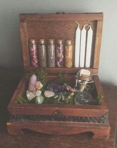 """lola-pastel: """"☾More Spiritual/Hippie/Psychedelic/Nature posts here ☽ """" Witch Cupboard: - Pinned by The Mystic's Emporium on Etsy wheres-my-grimoire: """"A travel altar for the mobile green witch :) """" Very green witch, perhaps to have some close b Altar Particular, Magick, Witchcraft, Les Gobelins, Witch Cottage, White Witch, Practical Magic, Witch Aesthetic, Kitchen Witch"""