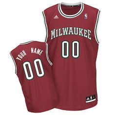 5ba409888 Bucks Personalized Authentic Red NBA Jersey (S-3XL) Milwaukee Brewers