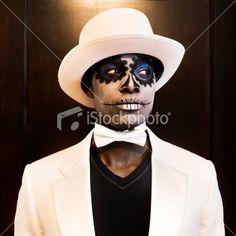 Voodoo Man With Sugar Skull Make-up. Royalty Free Stock Photo