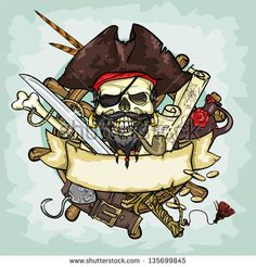 Pirate Skull logo design, vector illustrations with space for text, hand drawn collection