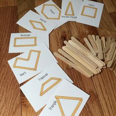 Building shapes with popsicle sticks! Great for toddlers or classroom centers.  Printable cards and worksheet.
