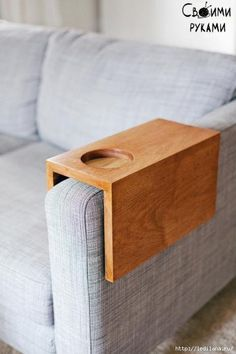 Wooden Sofa Sleeve with Cup Holder Comprehensive Tutorial for DIY sofa sleeve tray, with cup holder, to keep your drinks nearby.