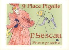 Henri de Toulouse-Lautrec-9 Place Pigalle P. Sescall Photographe-1966 Lithograph, Yellow