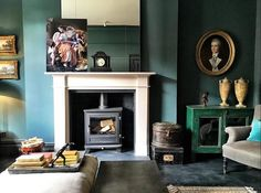 Inchyra Blue looking fab during last night's Home Living Room, Living Room Decor, Living Spaces, Farrow And Ball Inchyra Blue, Snug Room, Front Rooms, Dark Interiors, Living Room Inspiration, Room Colors