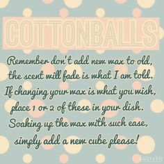 Cottonballs to quickly change scents. I use this method ALL THE TIME!