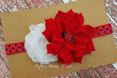 Ladybug headband. Red white headband. by SofiasBeautyCloset