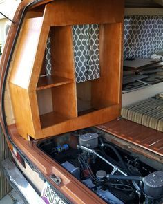 These custom cabinets blend with that motor so well. I am in awe with how awesome this turned out. I cannot thank my good friend Allen Carley enough for taking many weekends out of his family time to spearhead this project with me. Good friends are. Vauxhall Vivaro Camper, Vw T3 Camper, Toyota Camper, Vw Bus T3, Kombi Motorhome, Volkswagen Touran, Vw T3 Westfalia, Minivan Camper Conversion, Diy Van Conversions