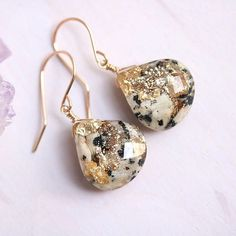 I will have three pairs of Dalmatian Jasper and gold leaf and glitter drop earrings back for this coming gemstone update! I'm thinking it will be in about a week and a half - still working on nailing down a date and time. I won't have any studs this time around because I'm working on new and improved versions. Happy weekend! ✨