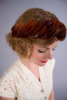 1950s hat . 50s pheasant feather fascinator . by coralvintage,