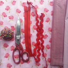 All very red . I love using bits and pieces from my fabric and craft  stash