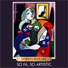 Woman with a Book by Pablo Picasso. #furnitureinart #art #painting #famouspaintings #pablopicasso #picasso #sofasoartistic #artists