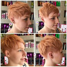 With the help of hair hero Aaron from TIGI Professional, Sudbury stylists Lucy and Jo achieved this sassy Rose Gold shade from the new Colour Trip range. Des had fun restyling the hair, demonstrating how three different looks can be created from one haircut. Genius!