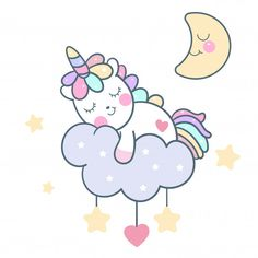 Cute Unicorn vector with magic sleeping time for sweet dream, Kawaii character style. Doodle pony child cartoon on pastel cloud. Perfect for kids greeting card design, t-shirt print, inspiration poster (isolated illustration).