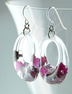 Resin Earrings with Red Rose Petals Resin hoops by Beautiful2u, $22.00