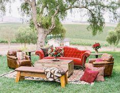 Rustic Red Copper Al Fresco Dinner Party - Lounge Seating - Ideas of Lounge Seating - Rustic red reception lounge Lounge Seating, Outdoor Lounge, Lounge Areas, Outdoor Seating, Seating Areas, Garden Seating, Outdoor Spaces, Lounge Party, Wedding Lounge
