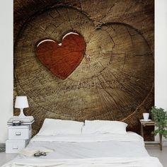 Tapete Holzoptik   Natural Love   Vlies Fototapete Premium Quadrat