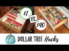 DOLLAR TREE HACKS to organize spice drawers + cabinets - YouTube