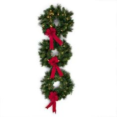 LED Pre-Lit Palmer Pine Triple Wreath Set with Timer