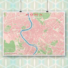 Lámina o mapa con estilo vintage de la ciudad de Roma, lista para enmarcar