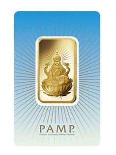 PAMP Suisse 1 Oz Lakshmi Gold Bar  Lakshmi is the Hindu goddess of wealth, love, prosperity, fortune, and the embodiment of beauty. Her four hands represent the four goals of human life considered proper in the Hindu way of life.  See more at http://www.bulliontradingllc.com/lakshmi-1-oz-pamp-suisse-gold-bar