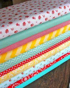 aqua, yellow, and red nurseries   Nursery Fabrics Red/Aqua/Yellow Floral fabric bundle, 1 FQ each of 10 ...