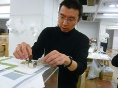 Sou Fujimoto. Born in Hokkaido in 1971, he graduated from the University of Tokyo in 1994, and established his own office, Sou Fujimoto Architects, in 2000. Noted for delicate light structures and permeable enclosures, Fujimoto designed several houses, and in 2013, was selected to design the temporary Serpentine Gallery pavilion in London. http://www.pinterest.com/search/pins/?q=sou%20fujimoto%20architects