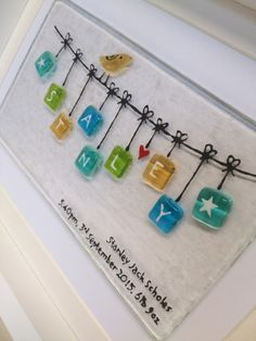 Fused glass Christening bunting.