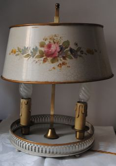 Toleware - French Bouillotte Lamp with a Tole Painted Shade