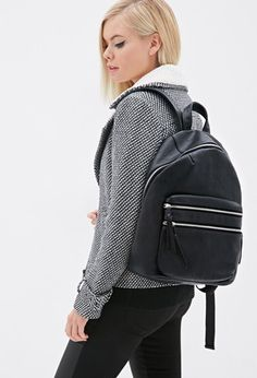 Zippered Faux Leather Backpack   Forever 21 - 1000135457
