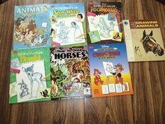 Lot of 7 drawing books: How To Animate Film Cartoons; Draw Bambi, Pocahontas ...