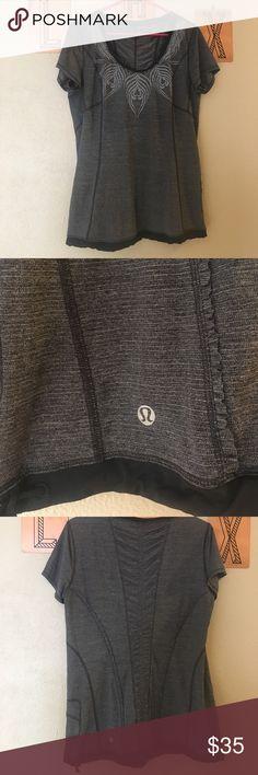 Lululemon Top Black and gray lululemon top with detailed collar lululemon athletica Tops Tank Tops