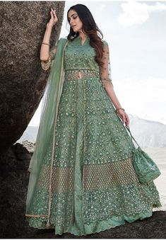Teal Mint Embroidered Net Designer Lehenga Kameez Party Wear Dresses, How To Wear, Gowns For Party, Party Dresses, Robes De Soiree