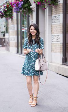 polka dot dress, ankle strap sandal, cute spring outfit, petite fashion blog