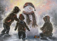 Snowman and Three Boys Art print snowman by VickieWadeFineArt