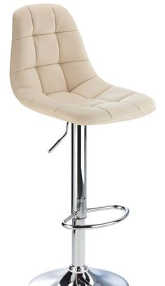 Buffet Cream Kitchen Bar Stool Padded Seat And Back Height Adjustable Chrome  Frame