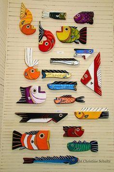 Painted Wood Fish Green and Navy Folk Art Handmade by TaylorArts