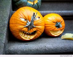 Turn your pumpkins to give them noses!