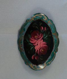 Vintage Hand Painted Russian Zhostova Brooch by OurBarefootCottage, $22.45