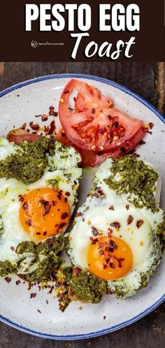 Easy and delicious twist on the TikTok pesto eggs. Sunny-side-up fried eggs with pesto, mozzarella, and tomatoes. Breakfast toast heaven! Egg Recipes, Clean Recipes, Lunch Recipes, Dinner Recipes, Cooking Recipes, Breakfast Toast, Breakfast Dishes, Breakfast Time, Breakfast Recipes