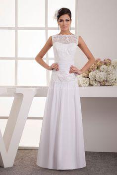 Sheath/Column Satin Bateau Natural Waist Floor-Length Button Back Sleeveless Lace Ruching Wedding Dress