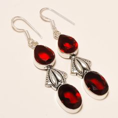 Daily Deals 925 Silver Designer Jewelry Garnet Gemstone Fashion Earrings #Handmade #DropDangle