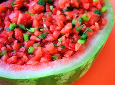 watermelon fire and ice salsa // This salsa is irresistible! The sweet and savory blend of flavors is delicious – especially when paired with tortilla chips. And the fresh and juicy watermelon provides a refreshing alternative base for salsa. Watermelon Salsa, Watermelon Recipes, Pineapple Salsa, Peach Salsa, Healthy Snacks, Healthy Recipes, Healthy Soup, Yummy Recipes, Soup Recipes